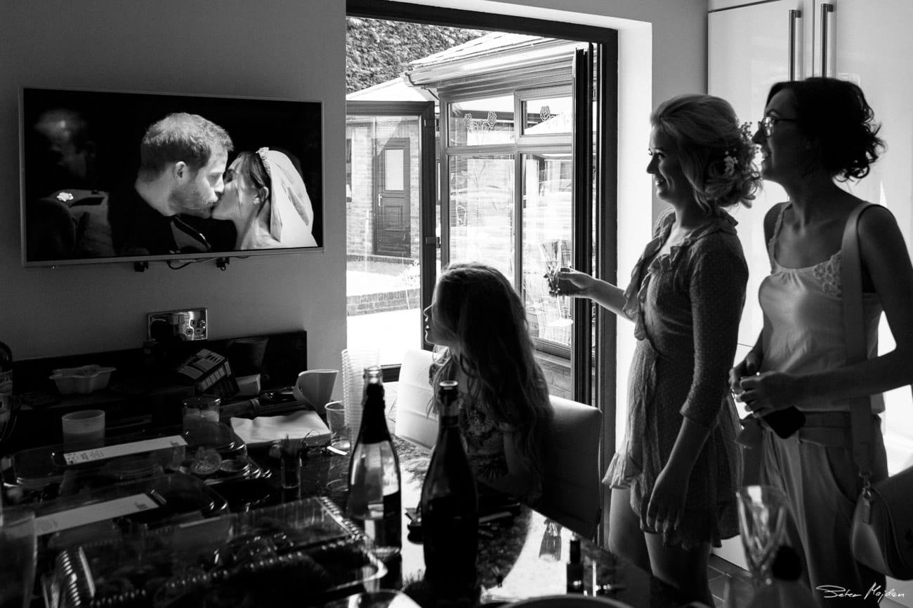 bridesmaids watching royal wedding
