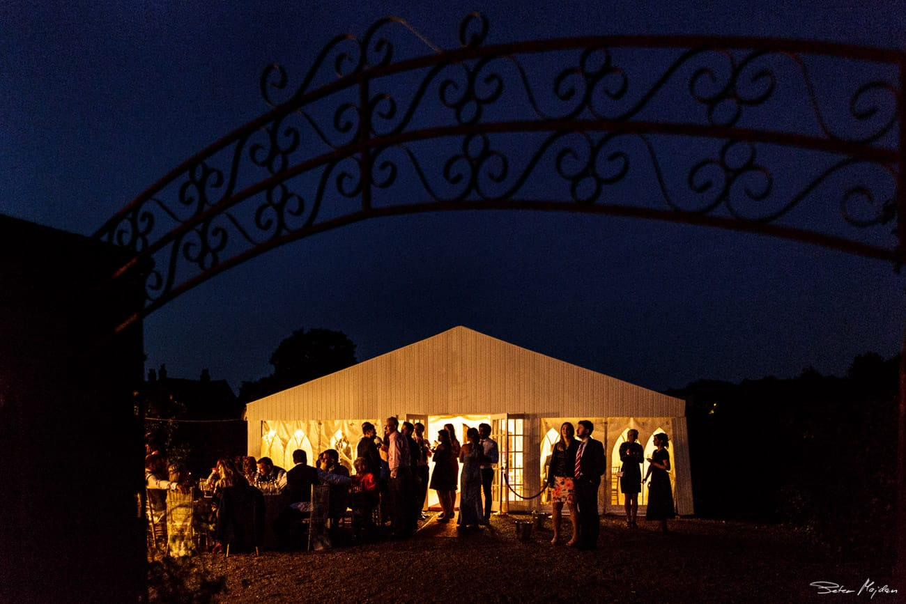 Walled Garden marquee at night