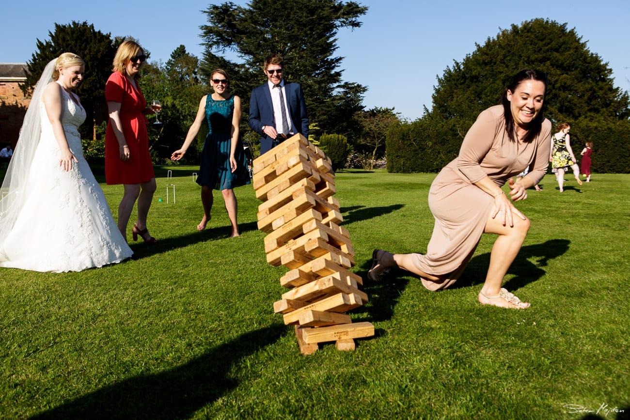 Playing jenga at Norwood Park