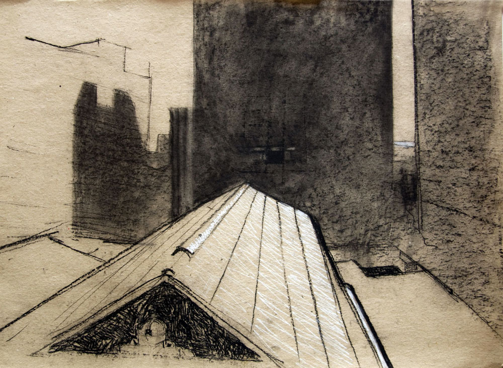 HIs Majesty's Roof - charcoal and pastel