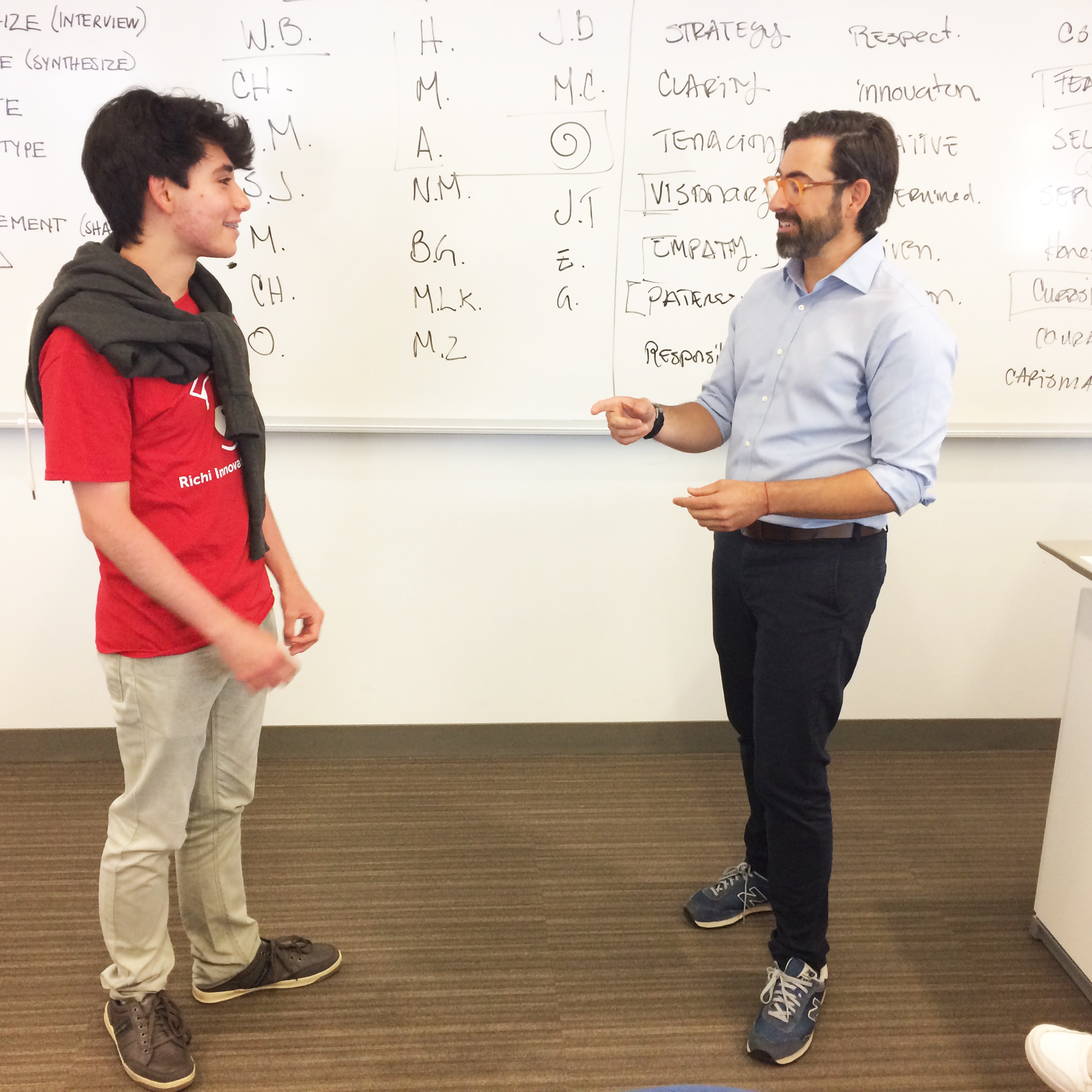 Javier Prieta practices communication skills with Santiago, exemplifying both good and bad habits for the Innovators