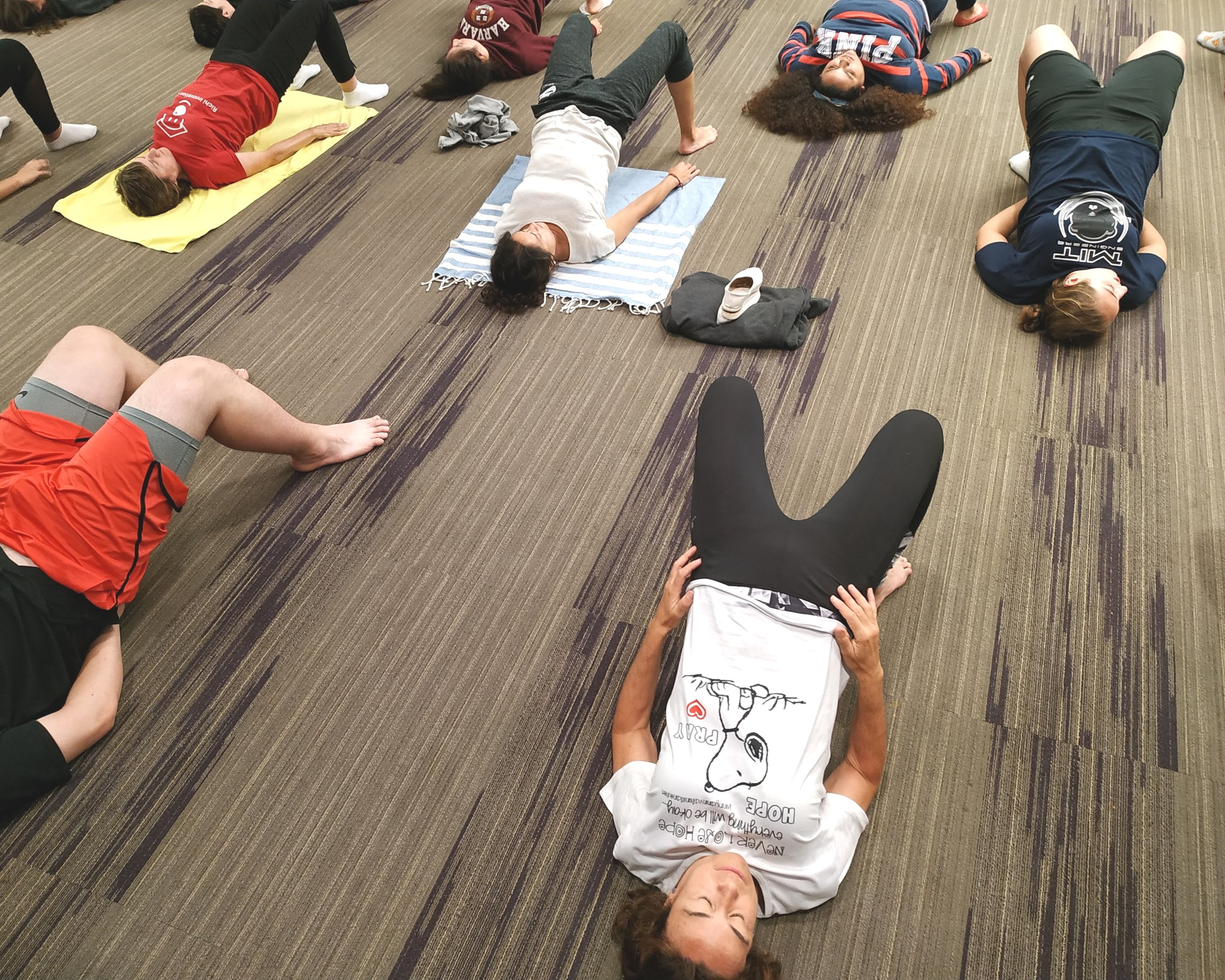 The Innovators finishing the day during the Yoga practise