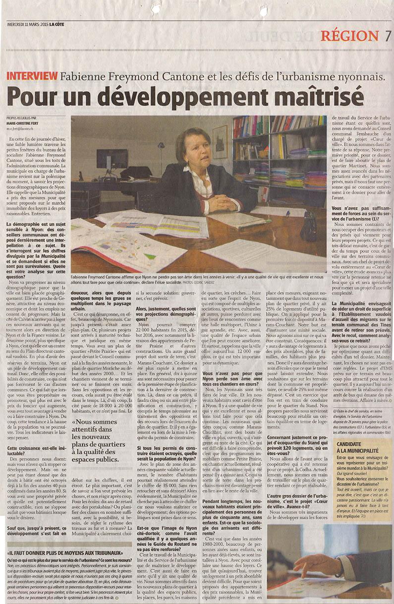 Copy of 2015-03-11 La Côte - Les défis de l'urbanisme nyonnais