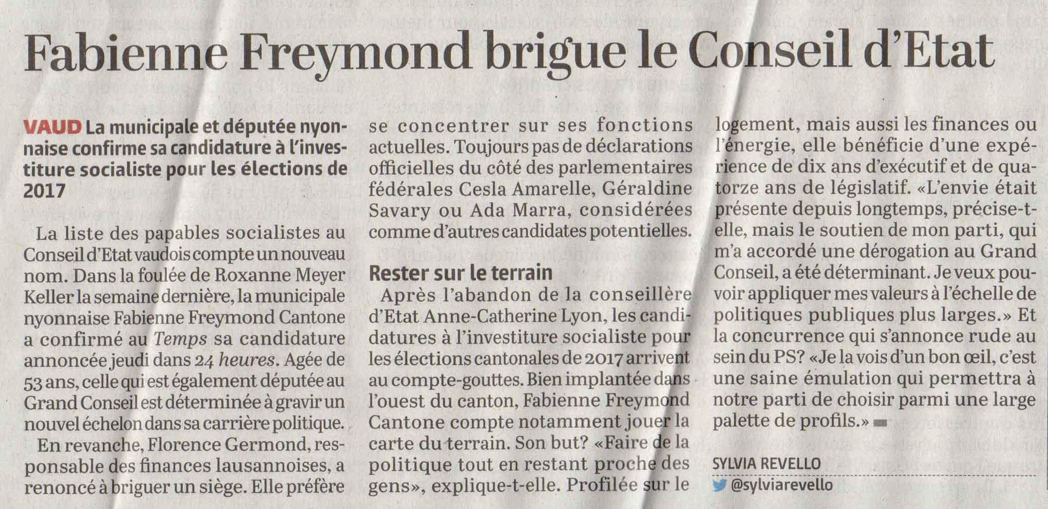 Copy of 2016-10-07 Le Temps - Fabienne Freymond Cantone brigue le Conseil d'Etat