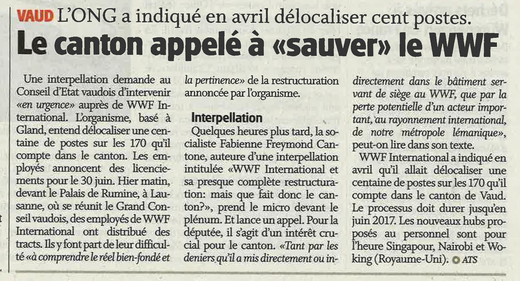 """Copy of 2016-06-01 La Côte - Le canton appelé à """"sauver"""" le WWF"""