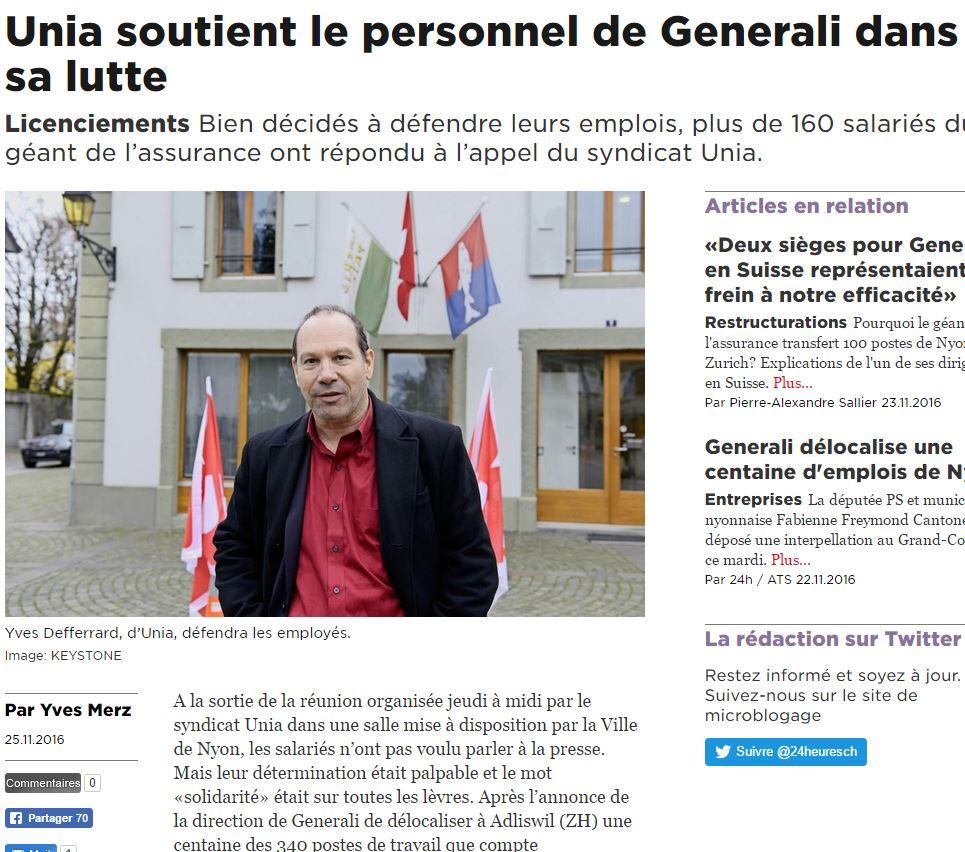 2016-11-25 24 Heures - Unia soutient le personnel de Generali dans la lutte