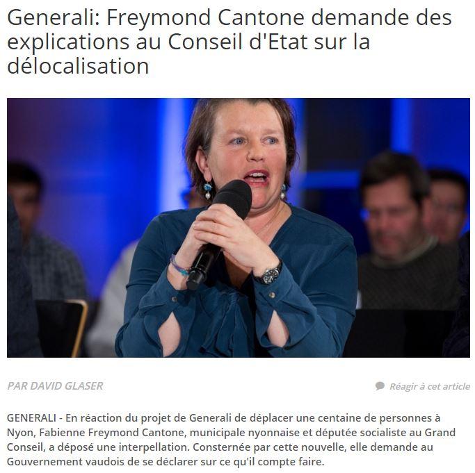 2016-11-23 La Côte - Freymond Cantone demande des explications au Conseil d'Etat sur la délocalisation