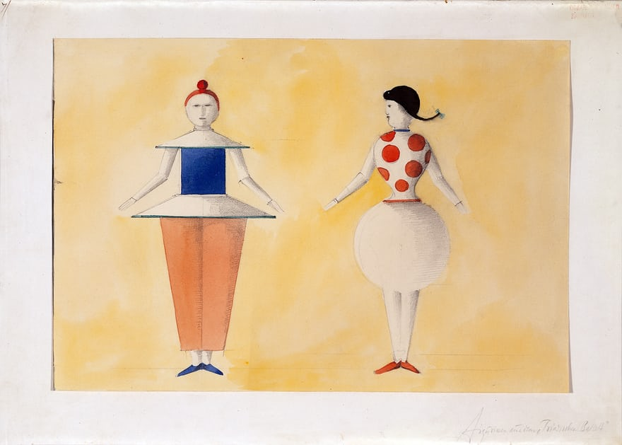 Sketch of two figures, yellow sequence act 2 for the Triadic Ballet, c.1919.