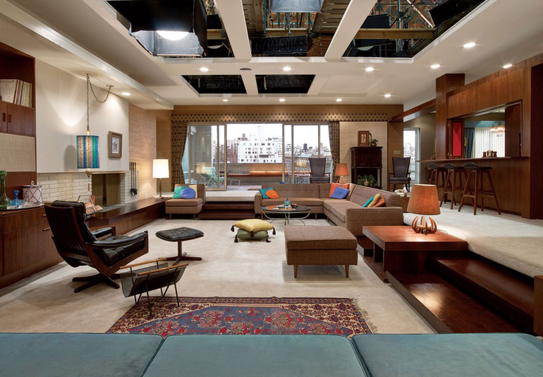 Don and Megan Draper's home on Park Avenue, featuring a 'conversation pit', a typical design feature for a living room of the era.