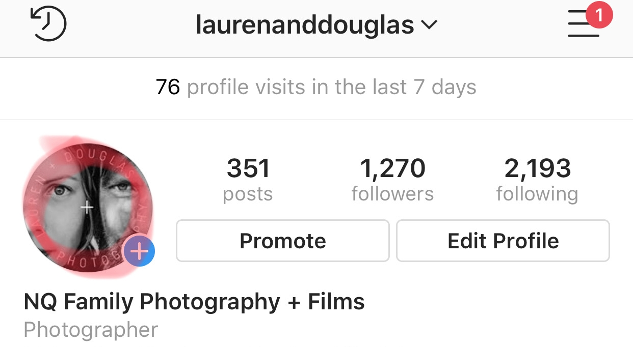 1. If you haven't posted to your stories in the last 24 hours [SELECT] your profile photo located in the top left corner of your profile with the blue [+] 'add story' icon. (go to step 2)