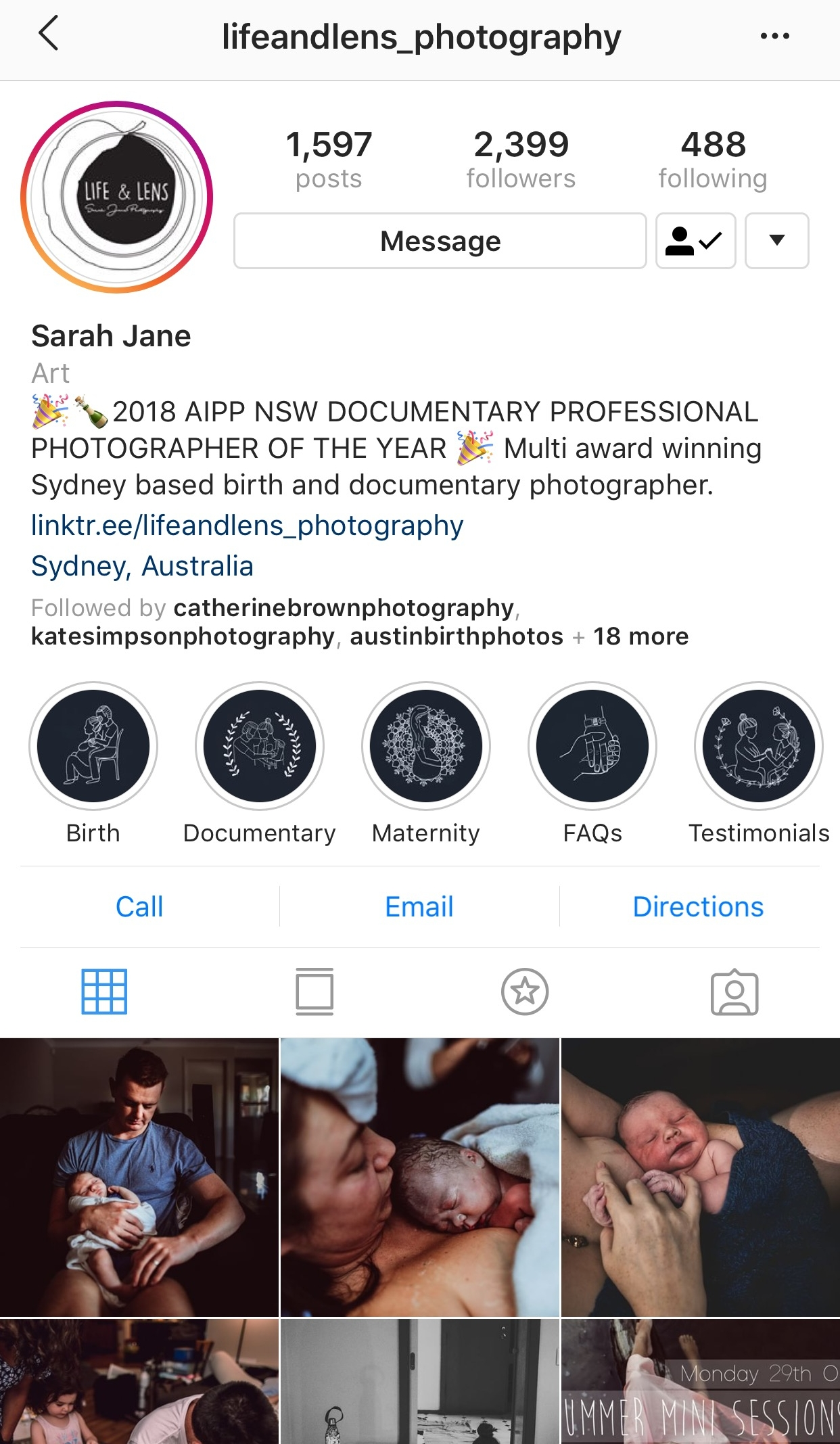 Example of how ' Birth-Themed Story Highlight Covers ' have been used to create a cohesive and professional look on the profile of award winning photographer 'Life & Lens'