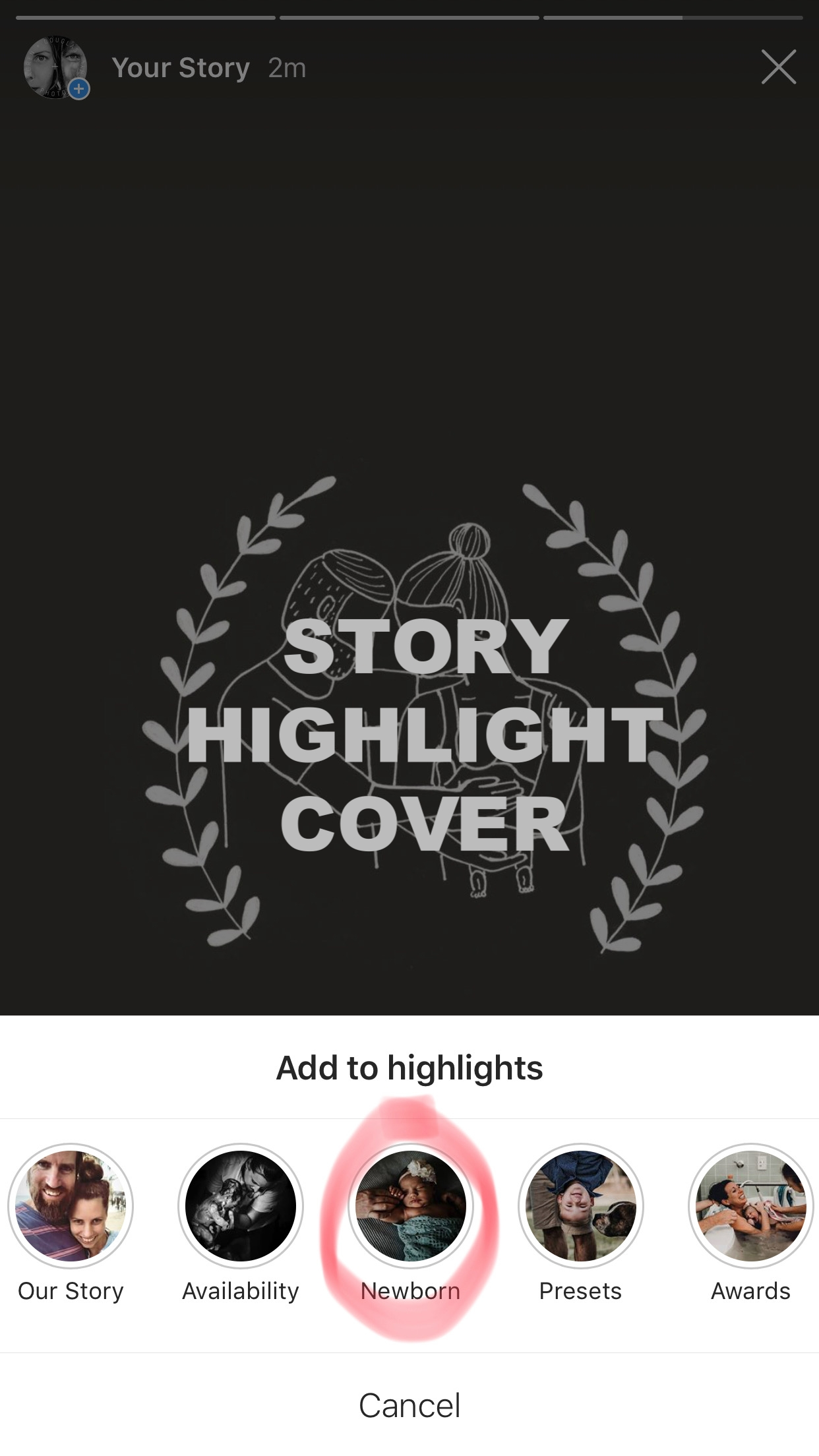 4. [SELECT] the existing highlight you want to assign your cover to, under 'Add to highlights'.