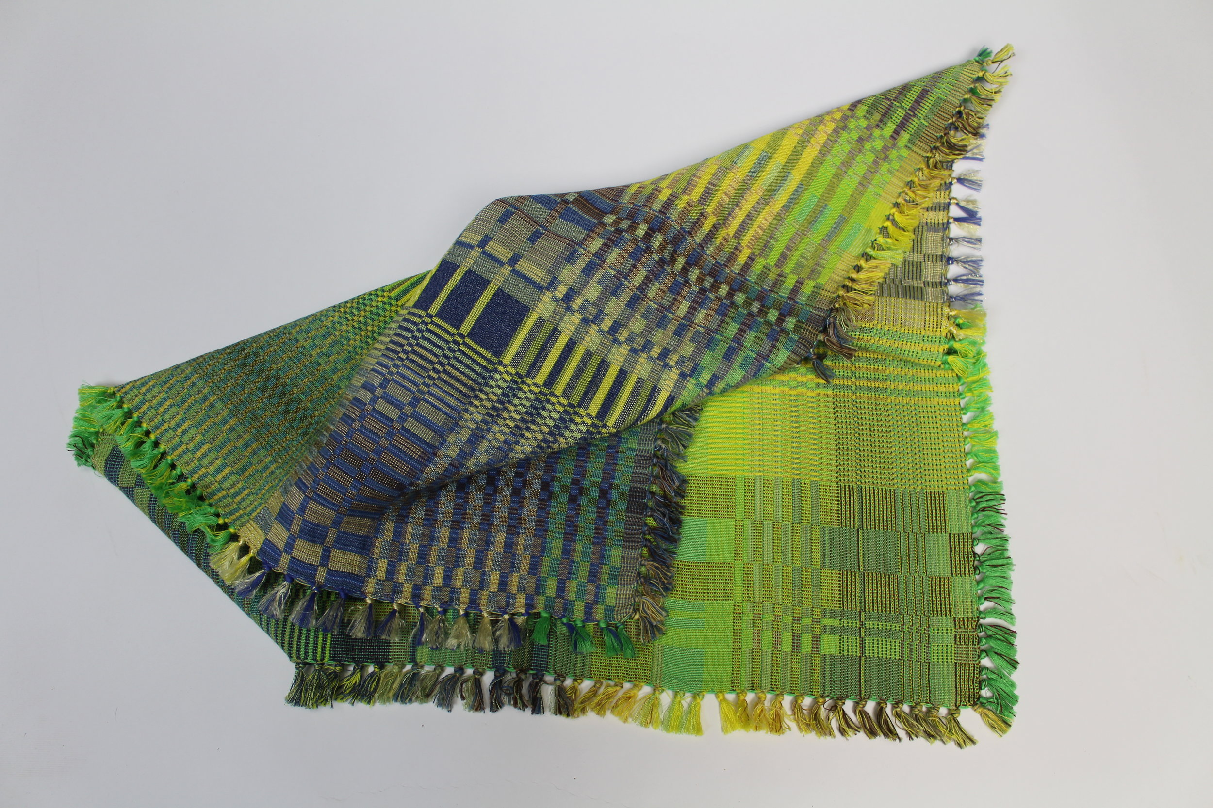 """doubleweave scarf  cotton with mixed fibers  24"""" square  2018"""