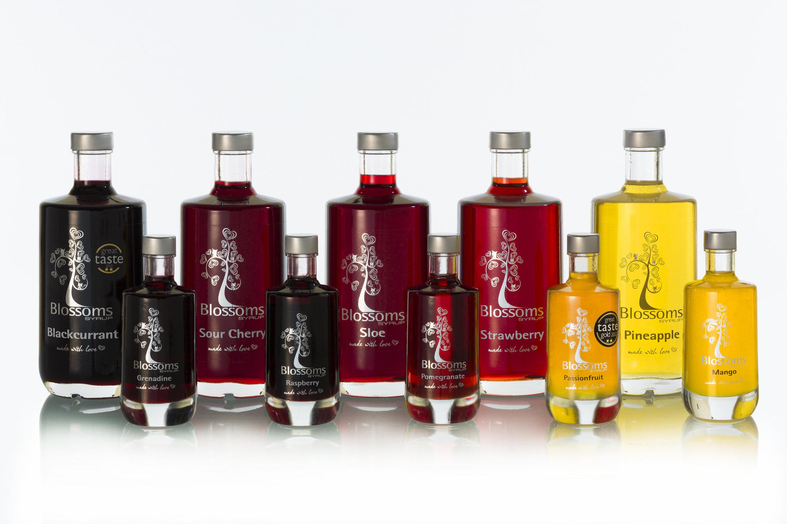 Blossoms Syrup glass bottles range