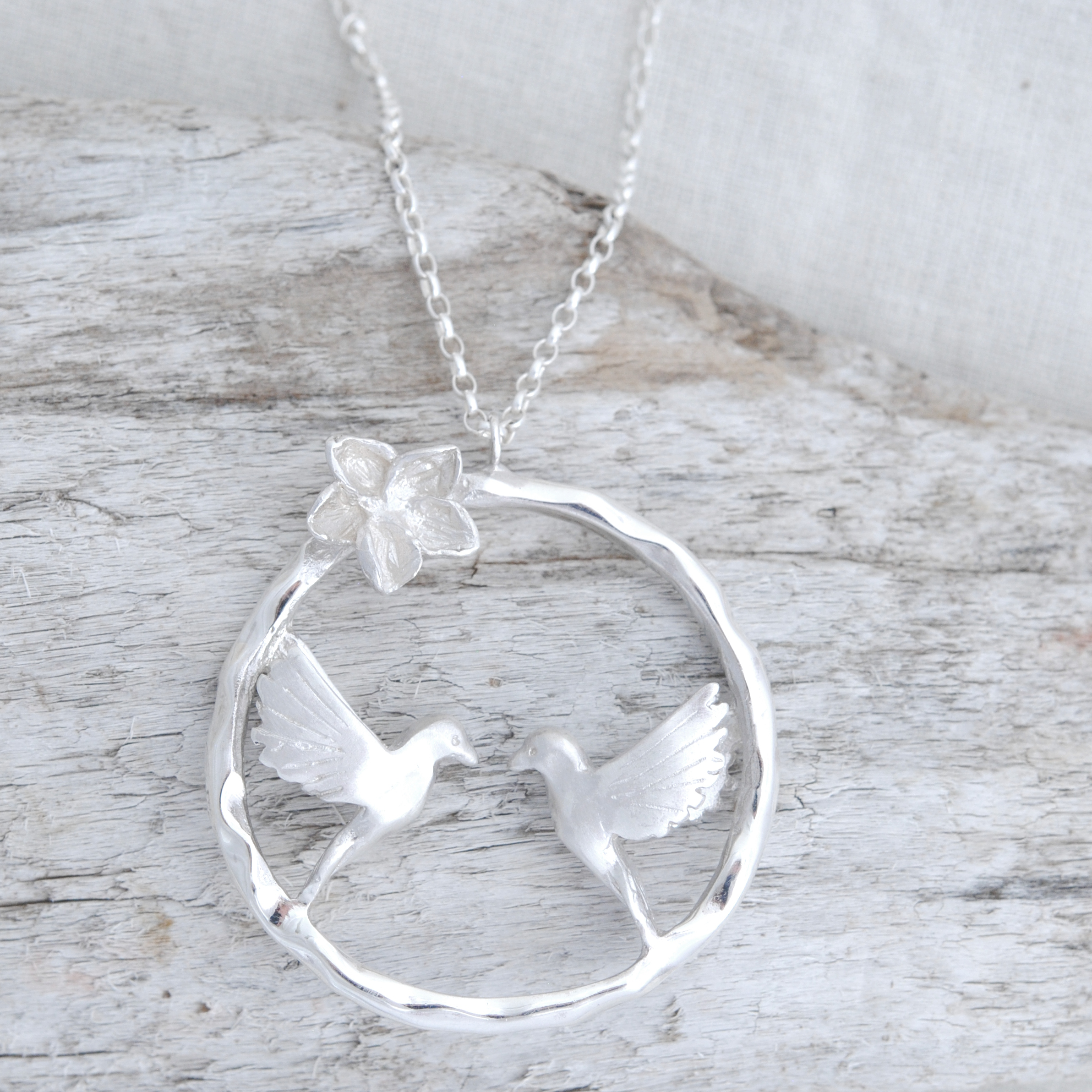 Turtle Dove Infinity Necklace In Silver