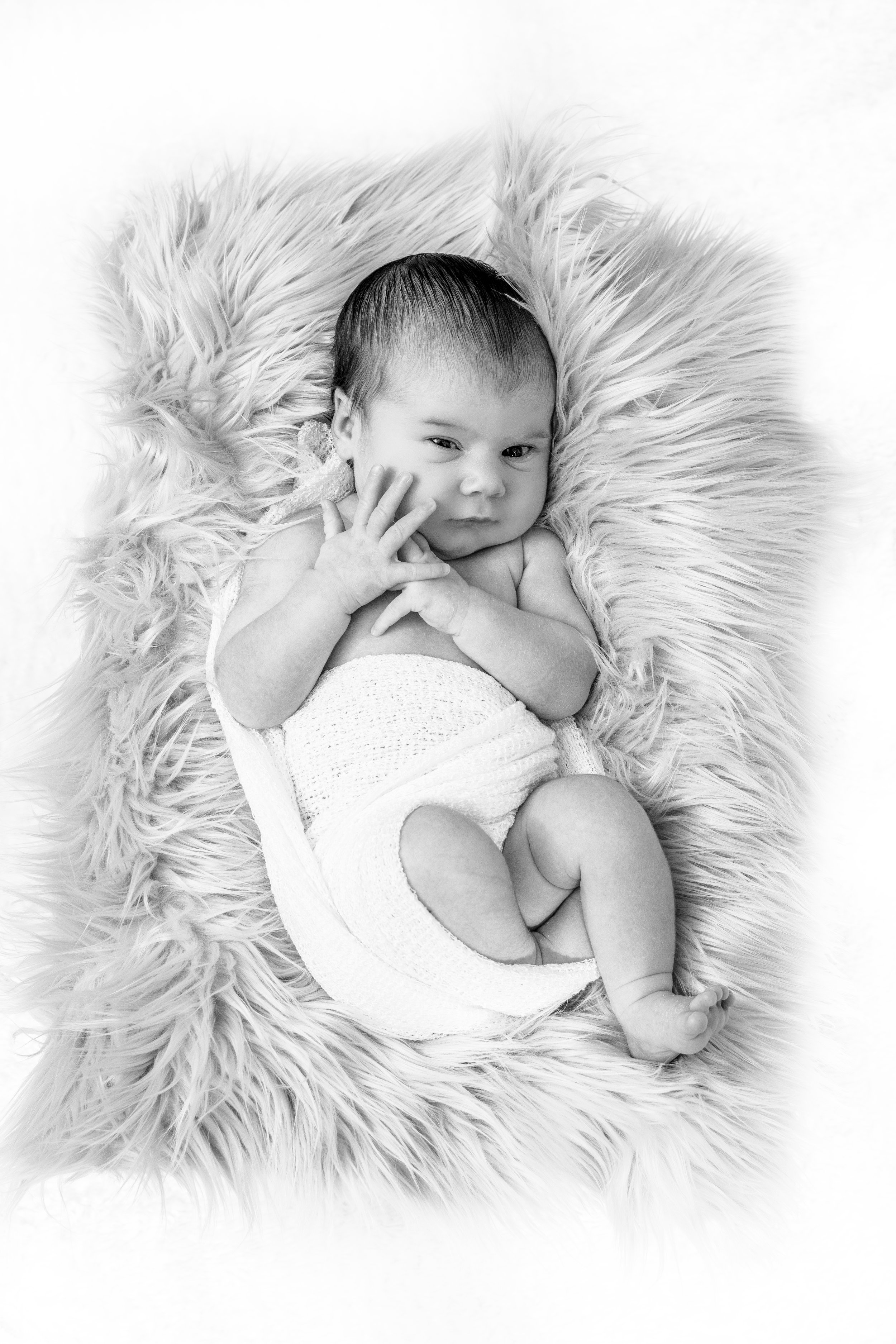 Thunder Bay photographer photo of baby girl on faux fur