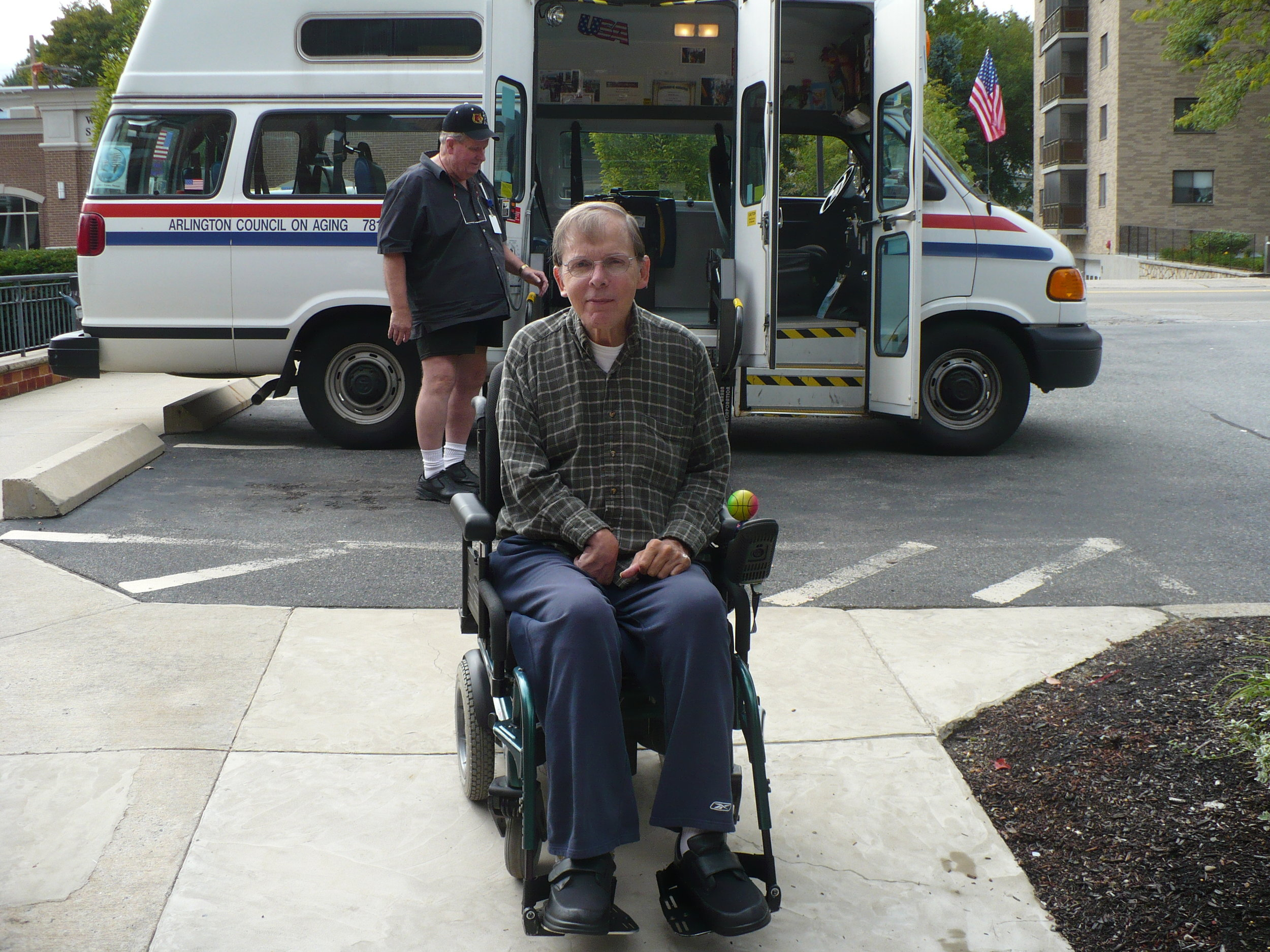 A case management client uses his transportation resources to get out into the community