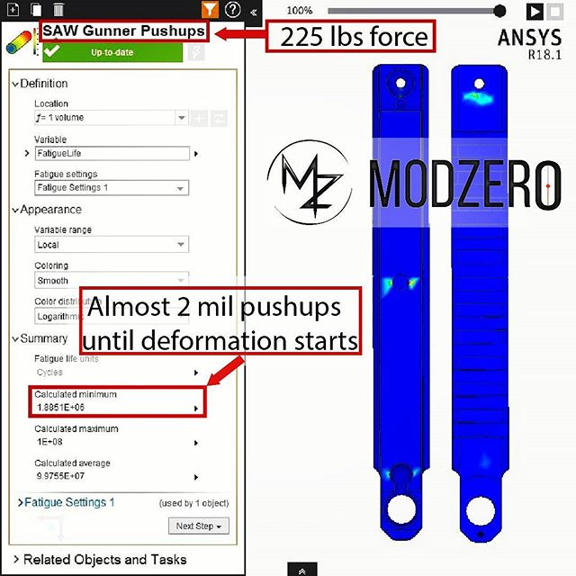 """FAQ: """"Will the M-Zero's Rail stand up to wear and tear? My rifles are tools."""" A: It will...unless you plan to do 2 million push ups on it....and wear a full SAW Gunner loadout doing it. #modzerohq #m0dsquad #mzeroscopemount #guns #engineering #science #physics #materials #simulation #SAW #pewpew #butwaititssaturday #micdrop"""