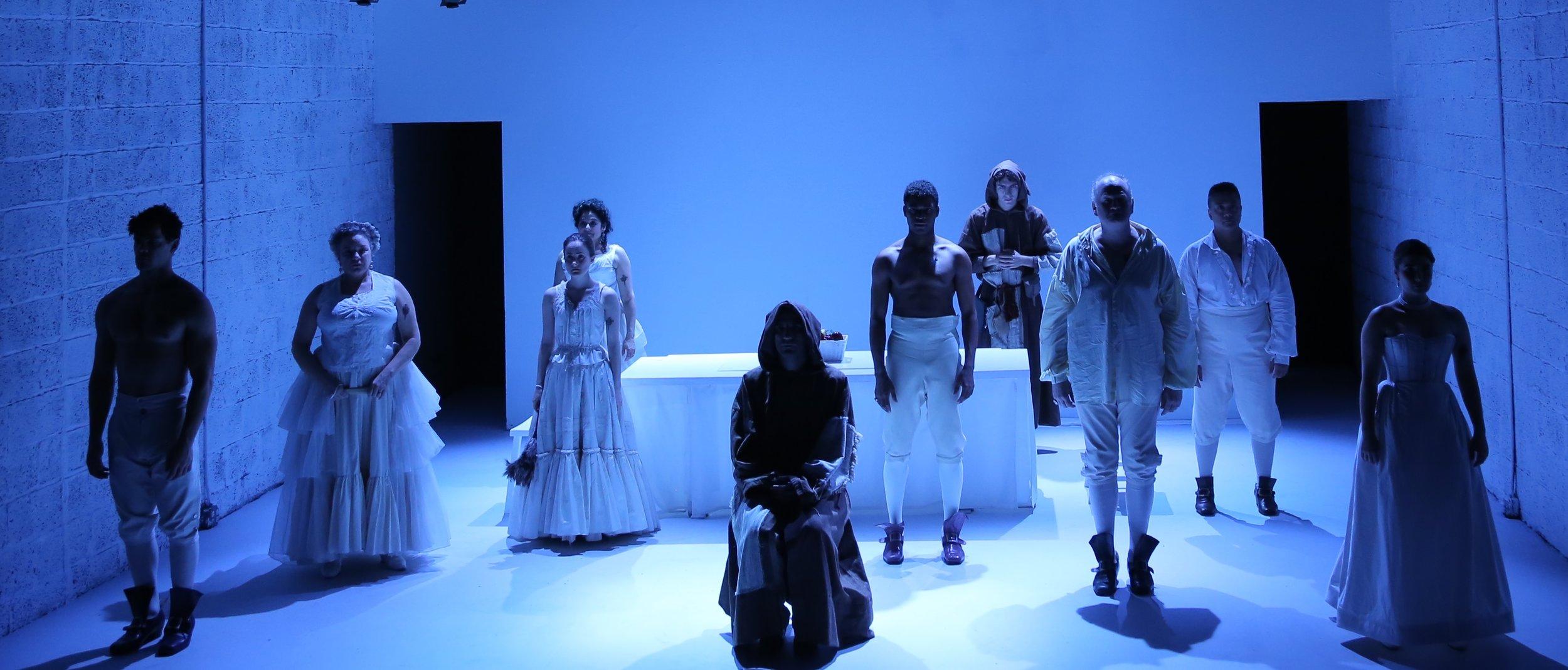 Tartuffe, Phoenix Theatre Ensemble, director Craig Smith, Costume Design Debbi HObson, Lighting Design Tsubasa Kamei, Projection Design Attilio Rigotti , Photography Gerry Goodstein
