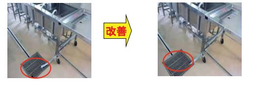 Left:  The pipe lies on top of the grate, with the potential to splash water.  Right:  Running water/run off now flows directly into the pipe, with the grate located on-top of the water with little to no splashing.