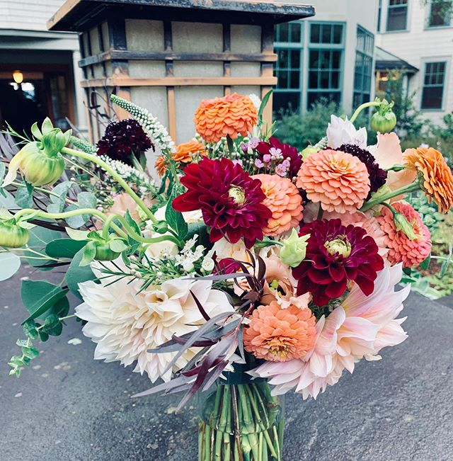 Congrats to Allison + Ed! More pics to come...thanks to @winkandwillow for planning such a gorgeous day and Understory Farm for these gorgeous dahlias!