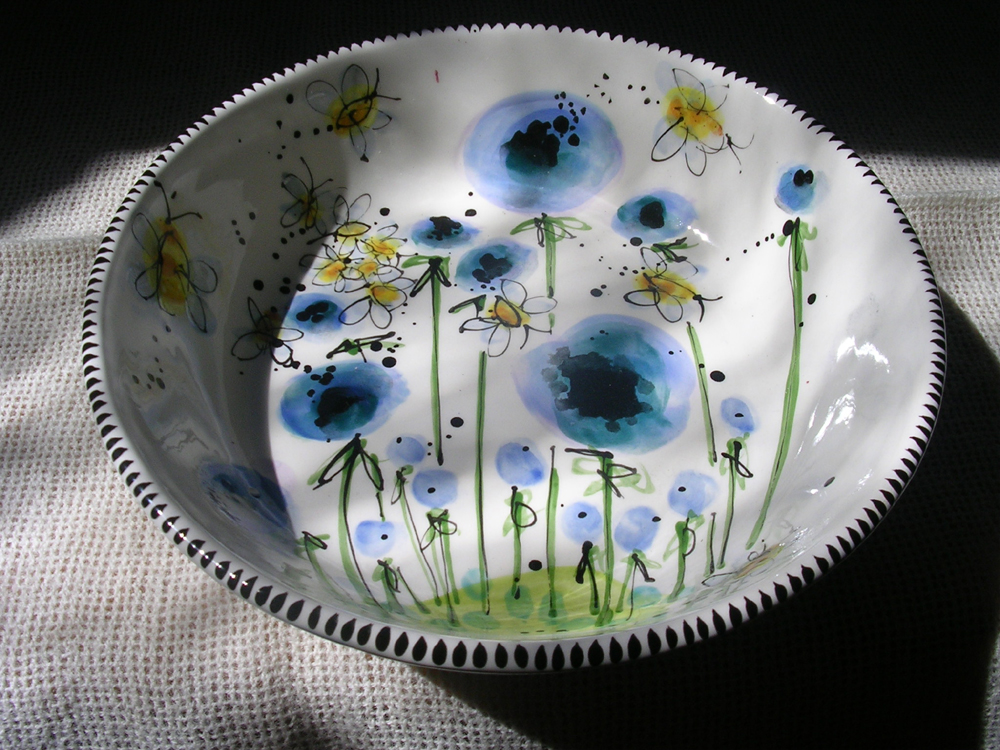 Bees and Blue Poppies Bowl