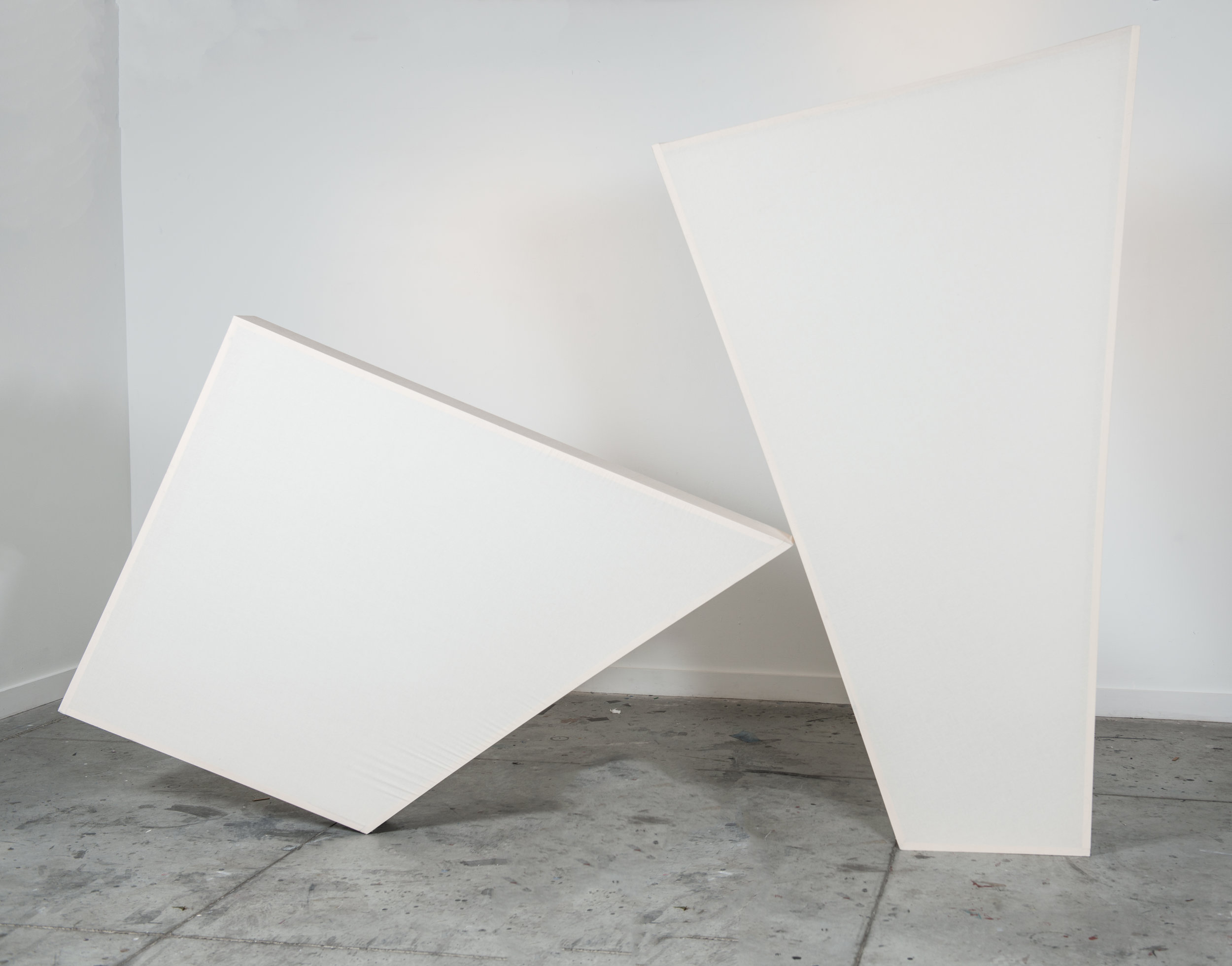 Now Is the Time For Her To Come Onstage Herself  (Configuration 2), 2016, muslin and wood, variable dimensions