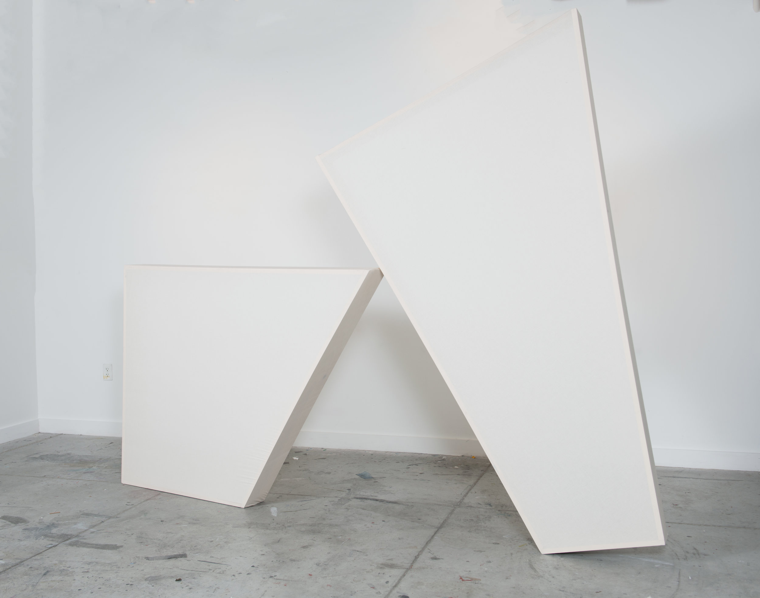 Now Is the Time For Her To Come Onstage Herself  (Configuration 1), 2016, muslin and wood, variable dimensions