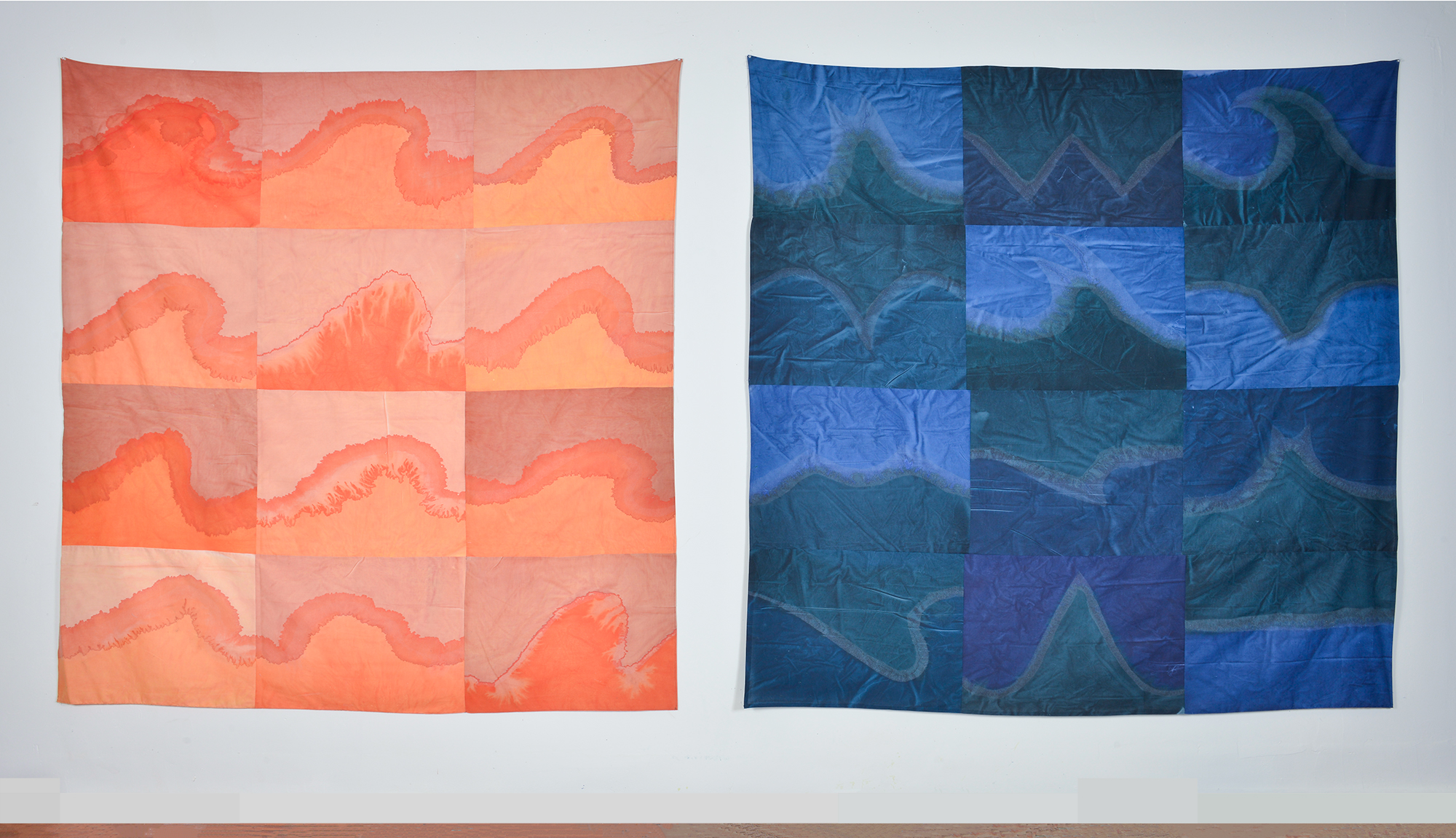 "Parts of Parts,  Installation View, 2018, Dye and acrylic on muslin, 81"" X 84"" (each)"