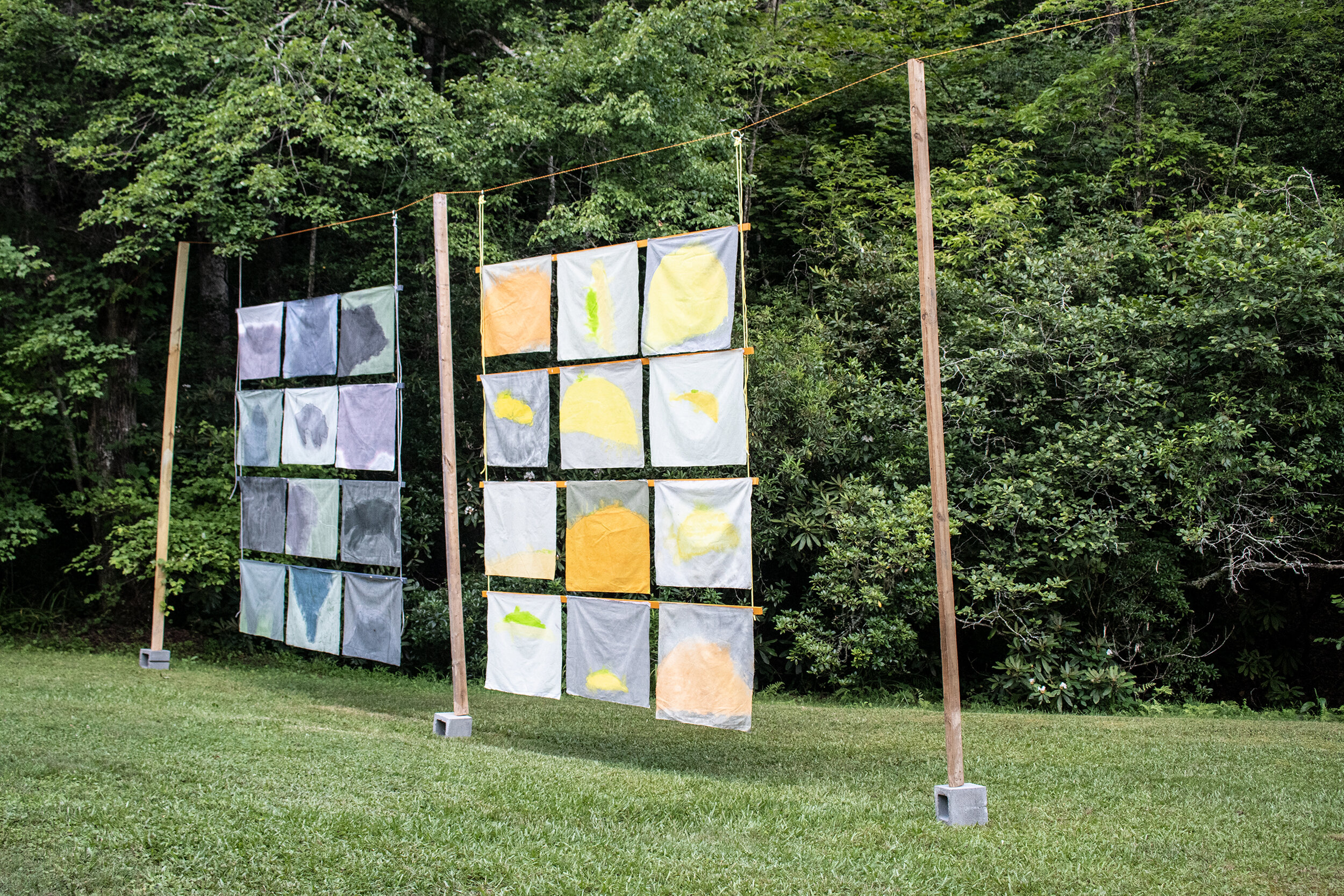 Song of Amergin (Floating with support, outdoors), Installation at the Hambidge Center for the Arts, Rabun Gap, GA