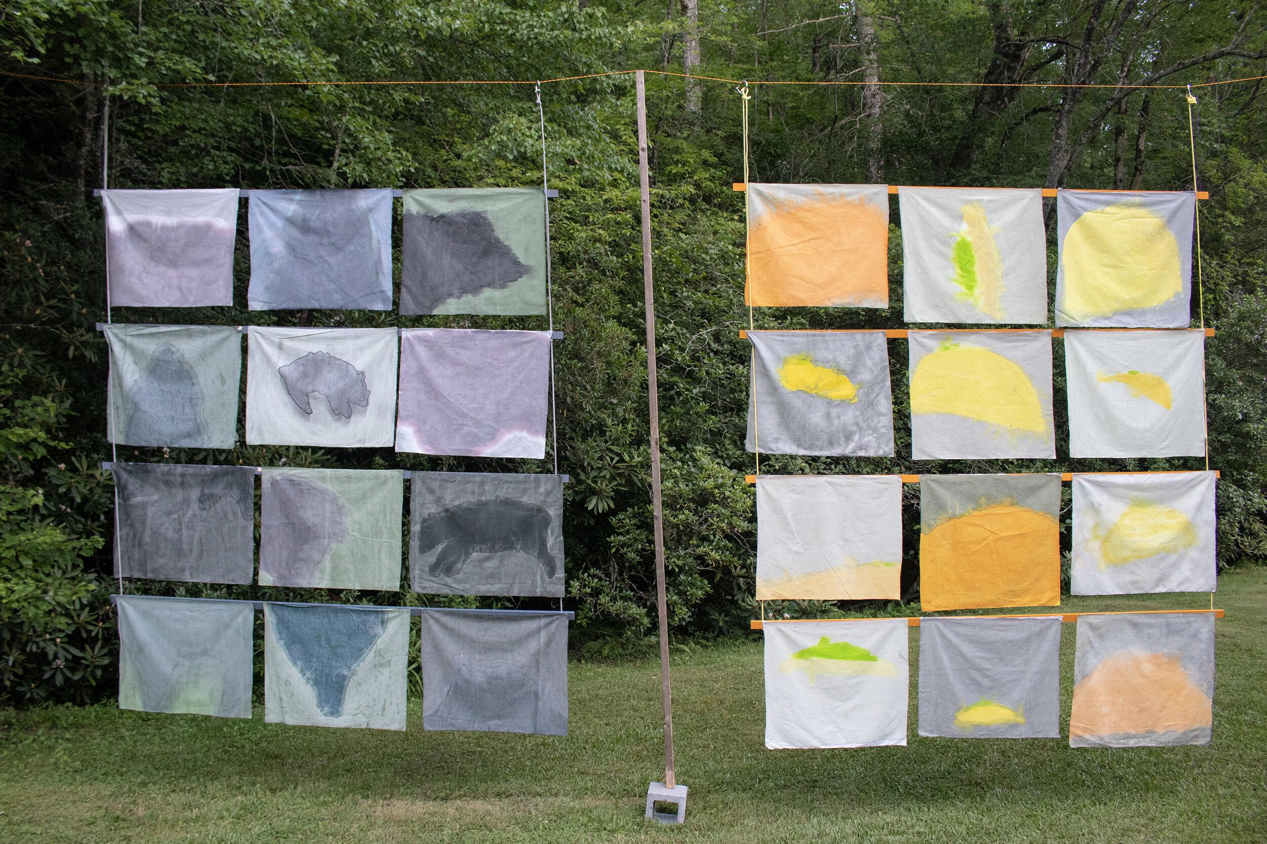 Song of Amergin II, 2019, Acrylic, dye, muslin, rope, wood, cinder blocks