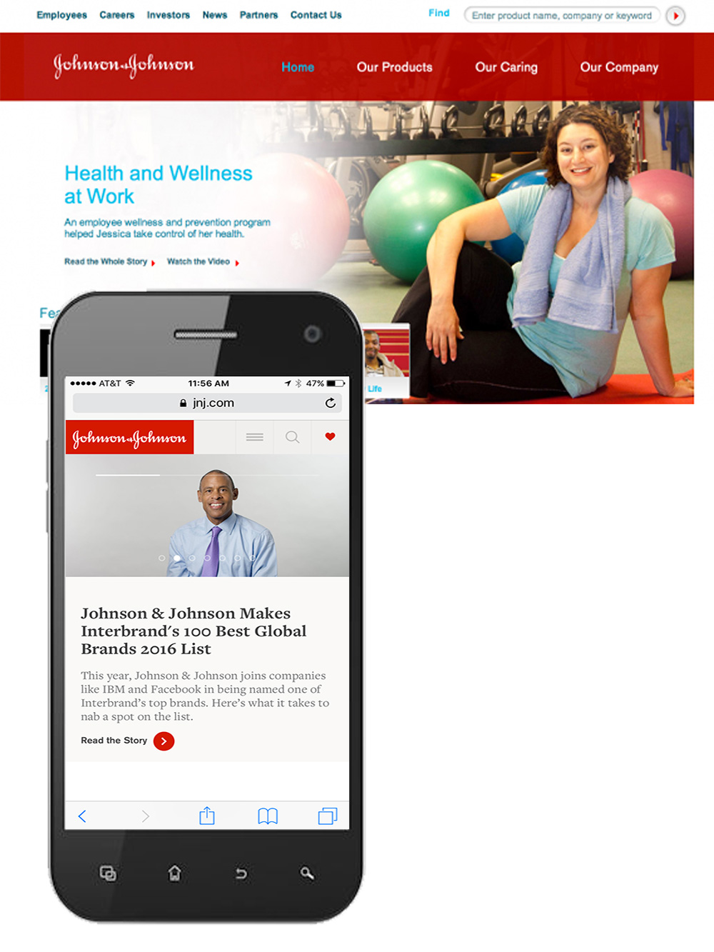 I worked with the web team to re-design the JNJ website to be mobile responsive. The project went smoothly and we were able to deploy the site updates in time for to make their annual review website mobile responsive.