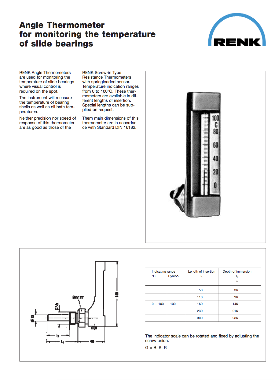 Slide Bearing Thermometer