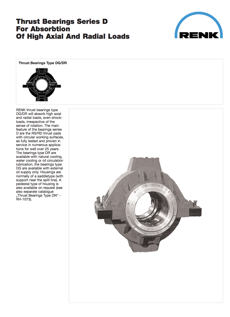 D-Type Thrust Bearing  for high axial and radial loads