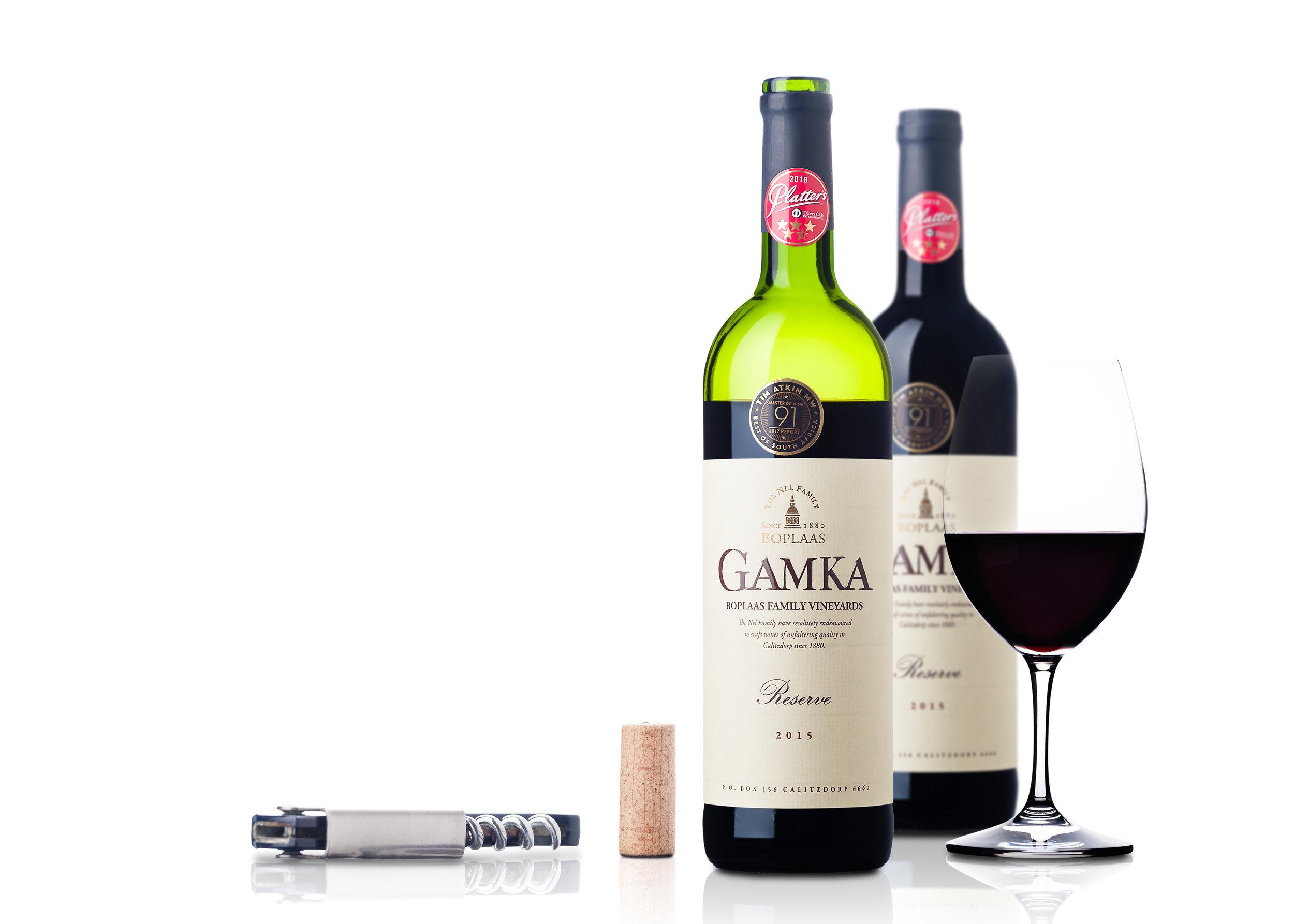 Boplaas Gamka 2015 style shot with 2 bottels and glass.jpg