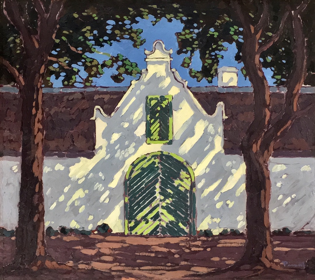 JH Pierneef,  Hertestraat Stellenbosch , Oil on board