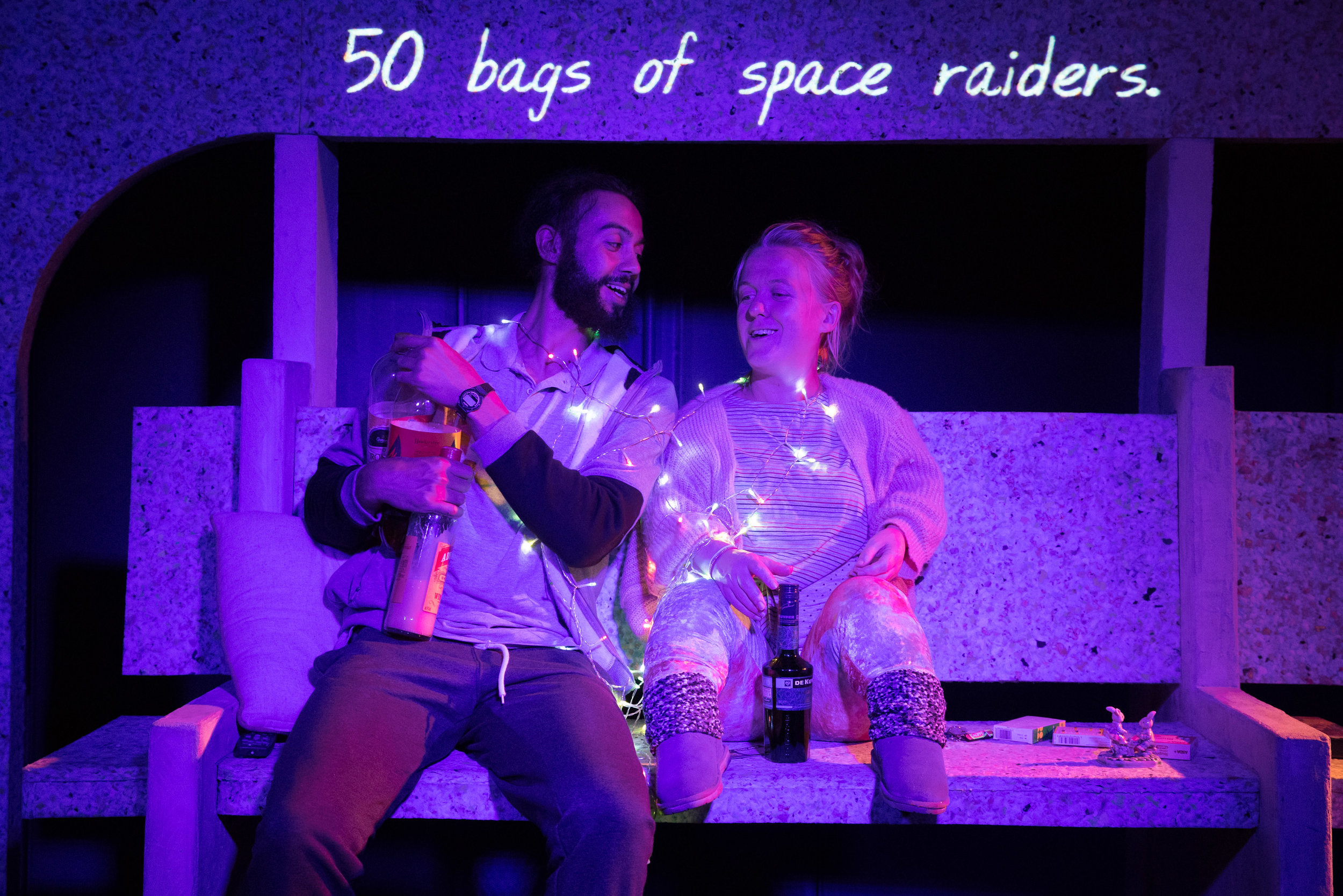 Cosmic Scallies. Reuben Johnson (Shaun) & Rachel Denning (Dent) 5. Photo Jonathan Keenan.jpg