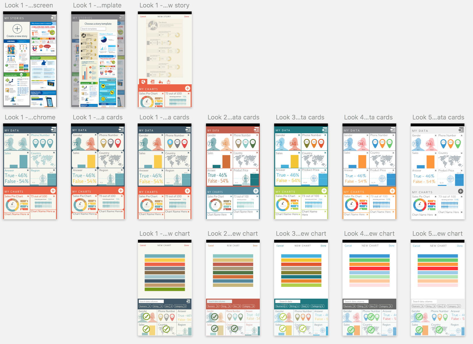 Project X: This is the Sketch file of multiple visual design options I created for a mobile app.