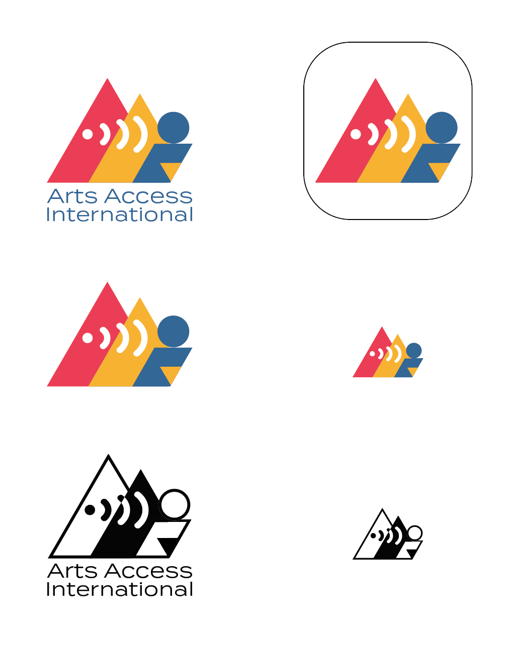 Arts Access International: I created a logo for a company that provides software for live narrative descriptions of live events for the visually impaired.