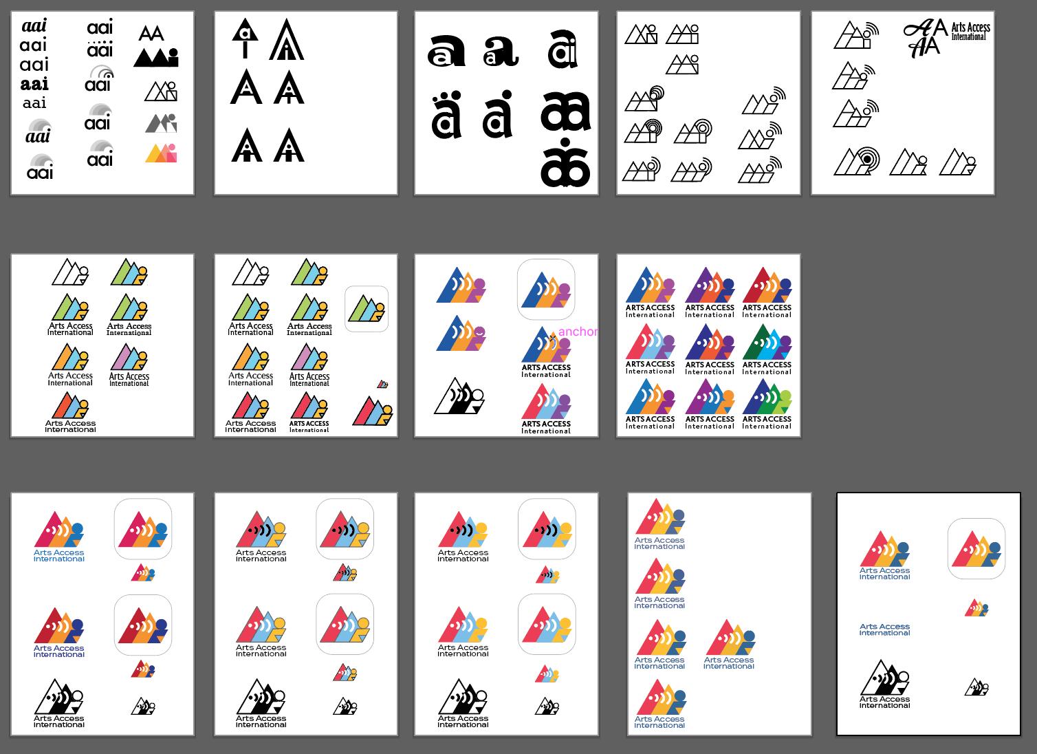 Arts Access International: Iterative process of logo creation.