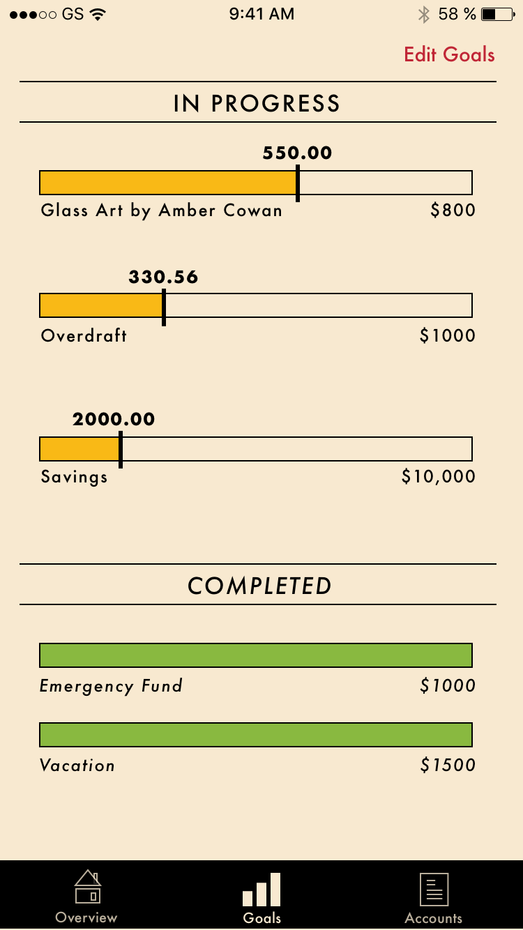 These are custom financial goals. The user can track their progress on their goals to stay inspired.