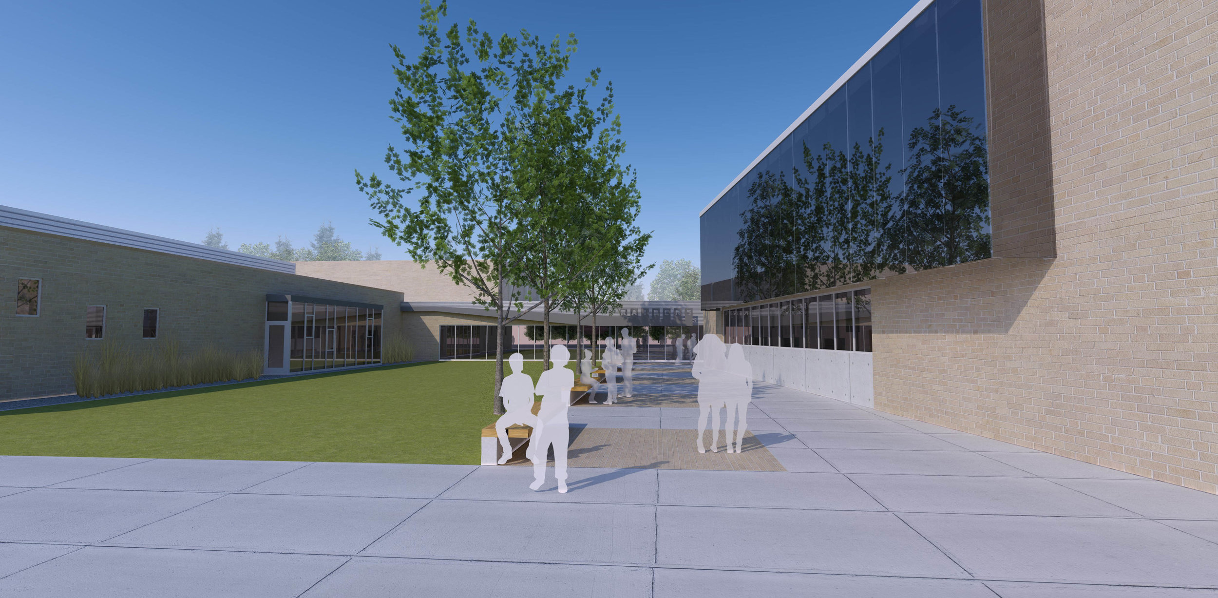 Courtyard View - Richardton-Taylor High School Addition and Renovation