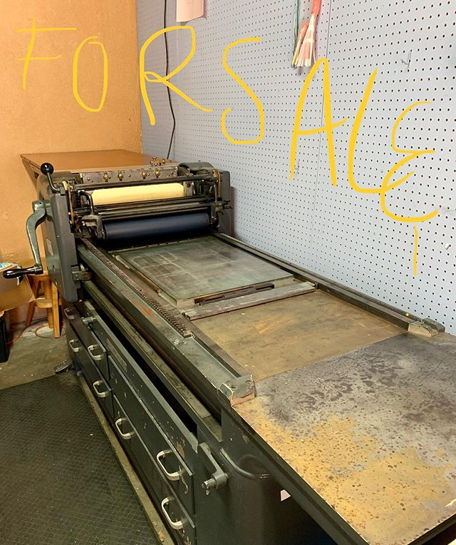 """With joy announcing that Bullhorn Press is closing up shop. Press for sale! 1950s timeless technology. Prints up to 18x24""""sheets. Included are 2 boxcar bases of different sizes, lots of tympan paper cut to size, tools, lots of ink. $15K. Serious inquires be in touch. Thanks for all your support and wonderful collaborations. Ever grateful to have worked with this wonderful machine and happy to pass her along 〰️〰️〰️〰️"""