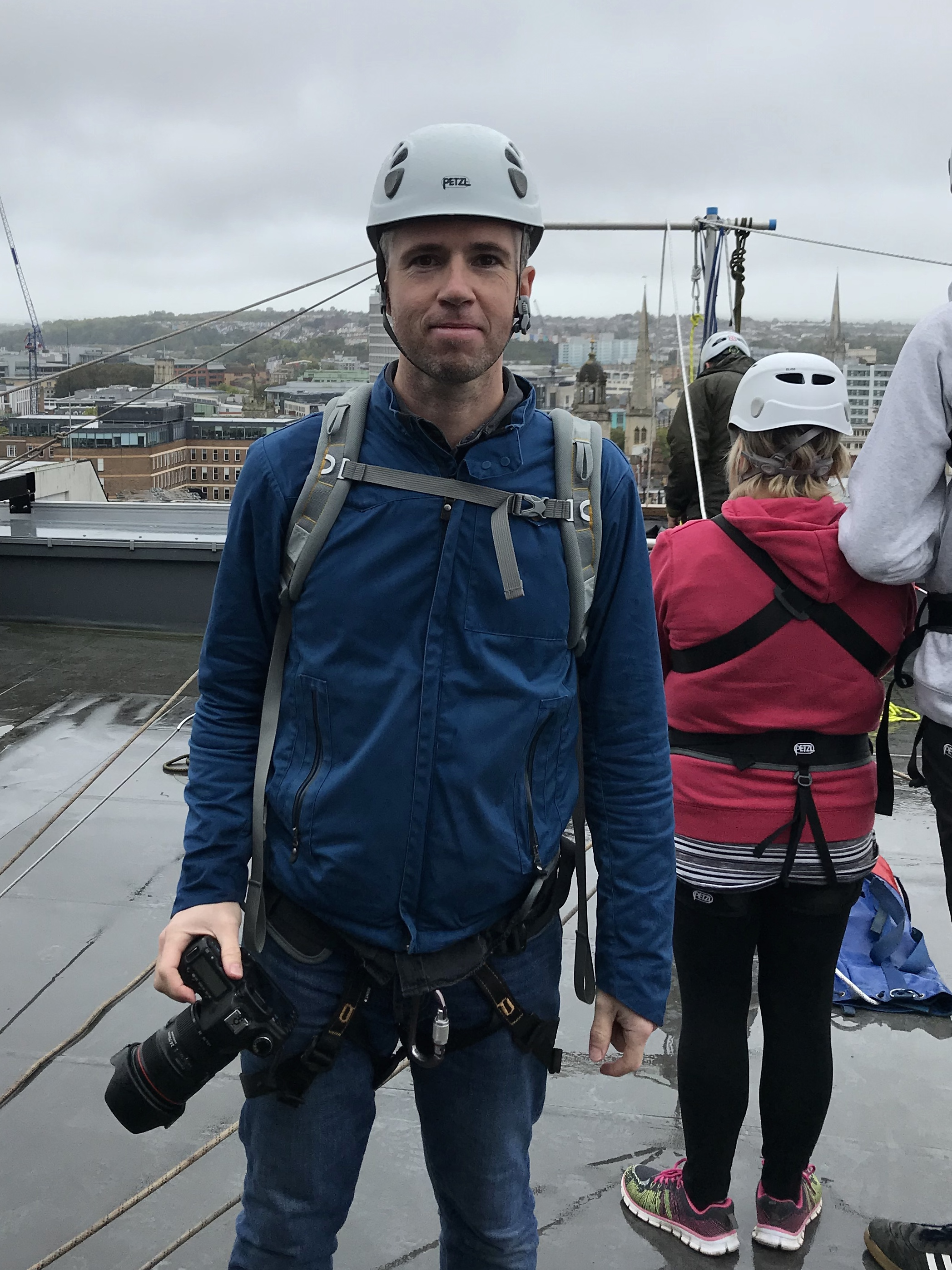 All the gear, no idea :) Health and safety first. In fact it did make me feel more at ease being attached to the ropes up on the roof.
