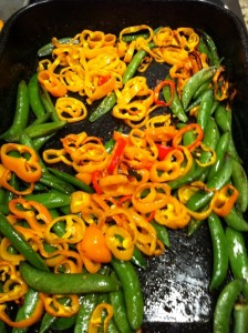 Roasted peppers and snap peas