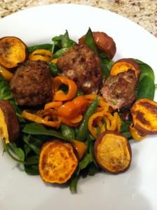 Asian turkey meatballs over arugula, pepper snap pea salad