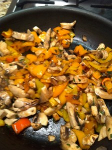 Sauteed mushrooms and peppers
