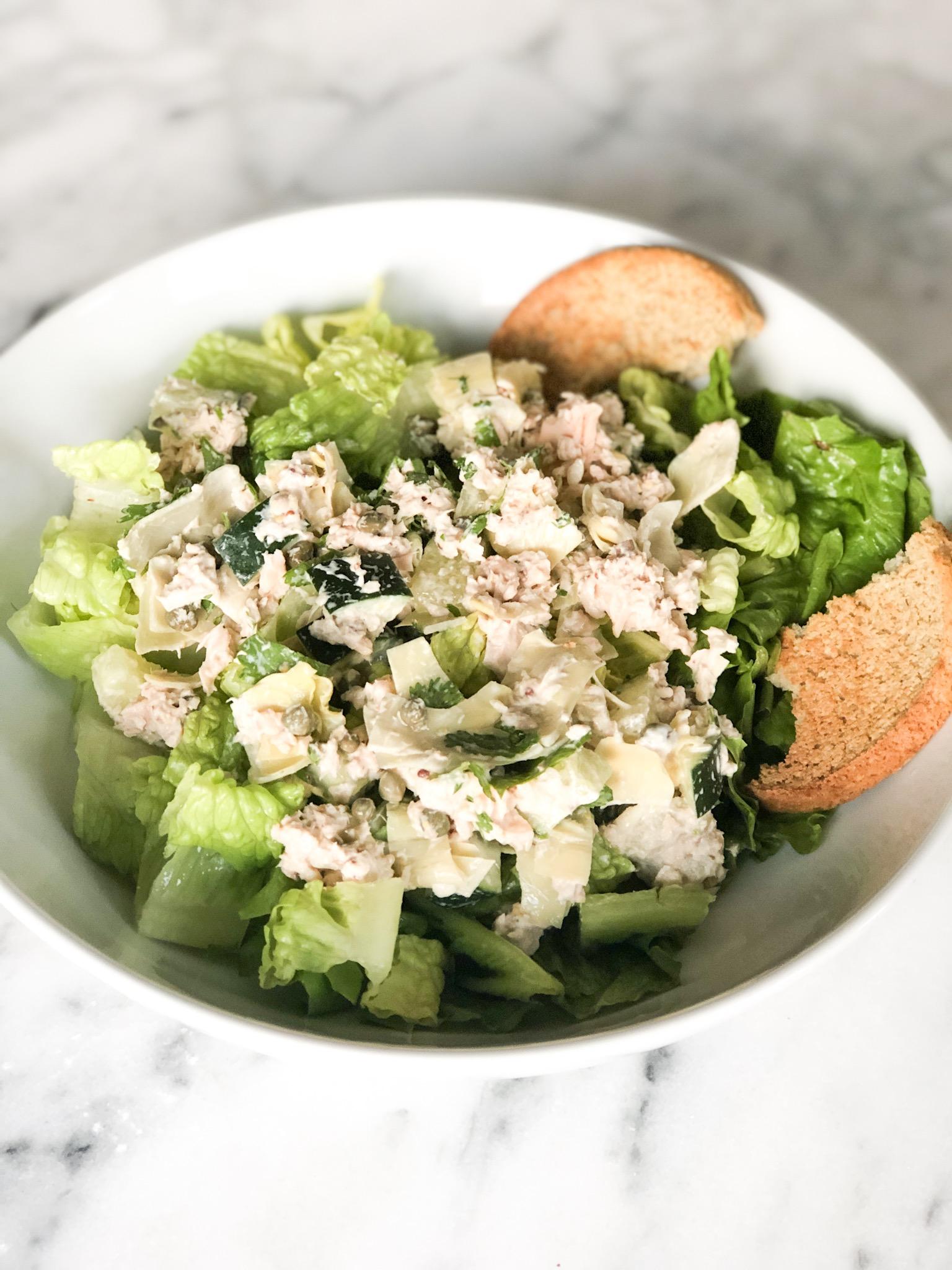 salmon artichoke salad over romaine.JPG