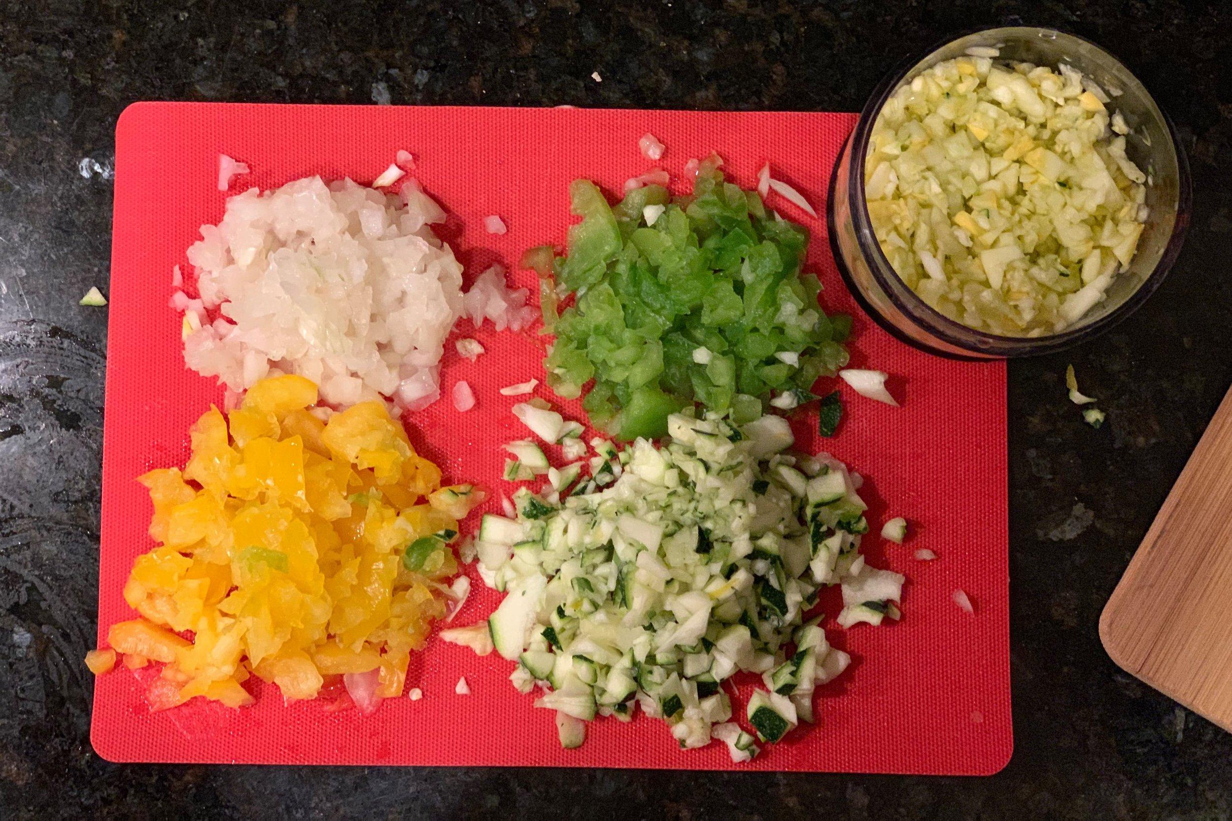 Diced vegetables.