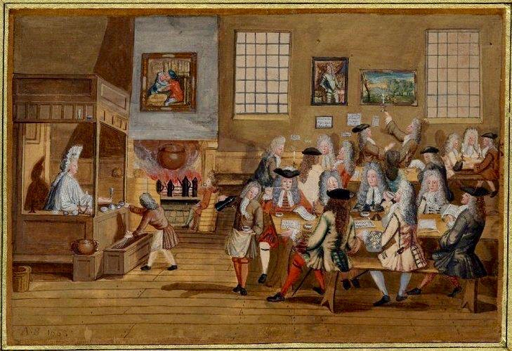 Drawing of a Coffee House, which looked remarkably like the Chocolate Houses that preceded them. (Anonymous, 1690-1700) ©British Museum